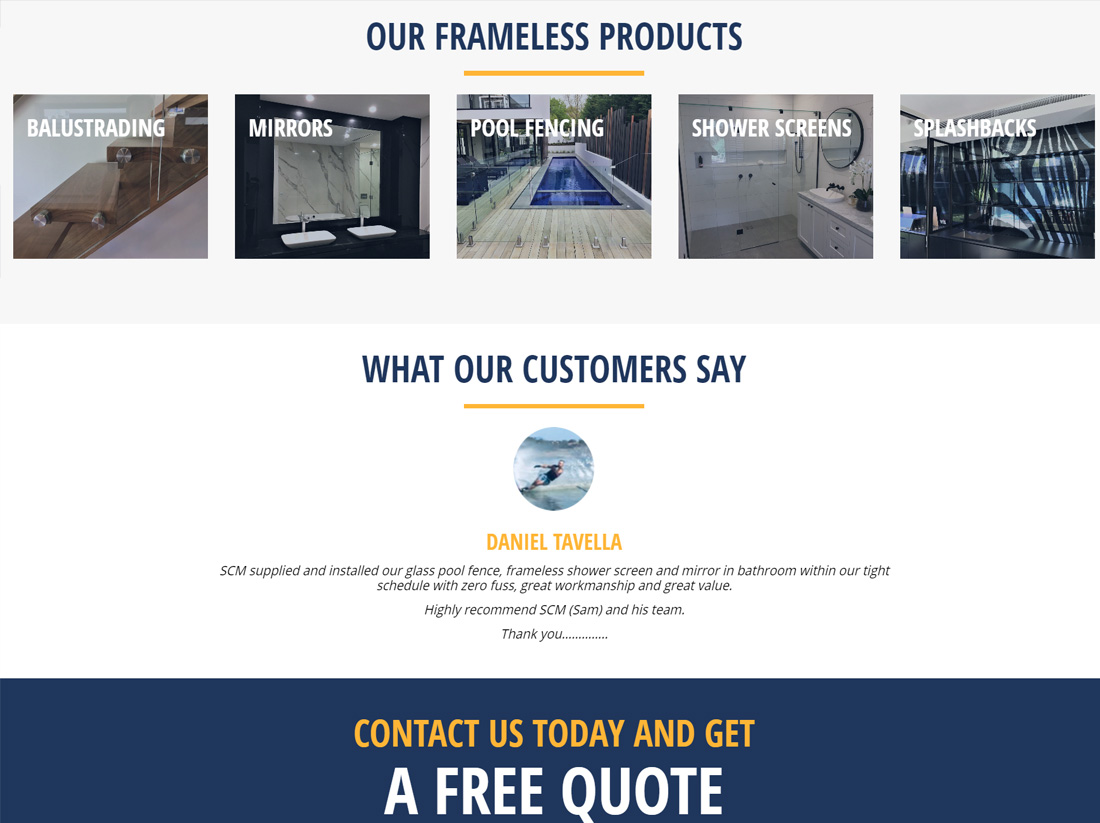 SCM Frameless Showers Website Project Products & Testimonial