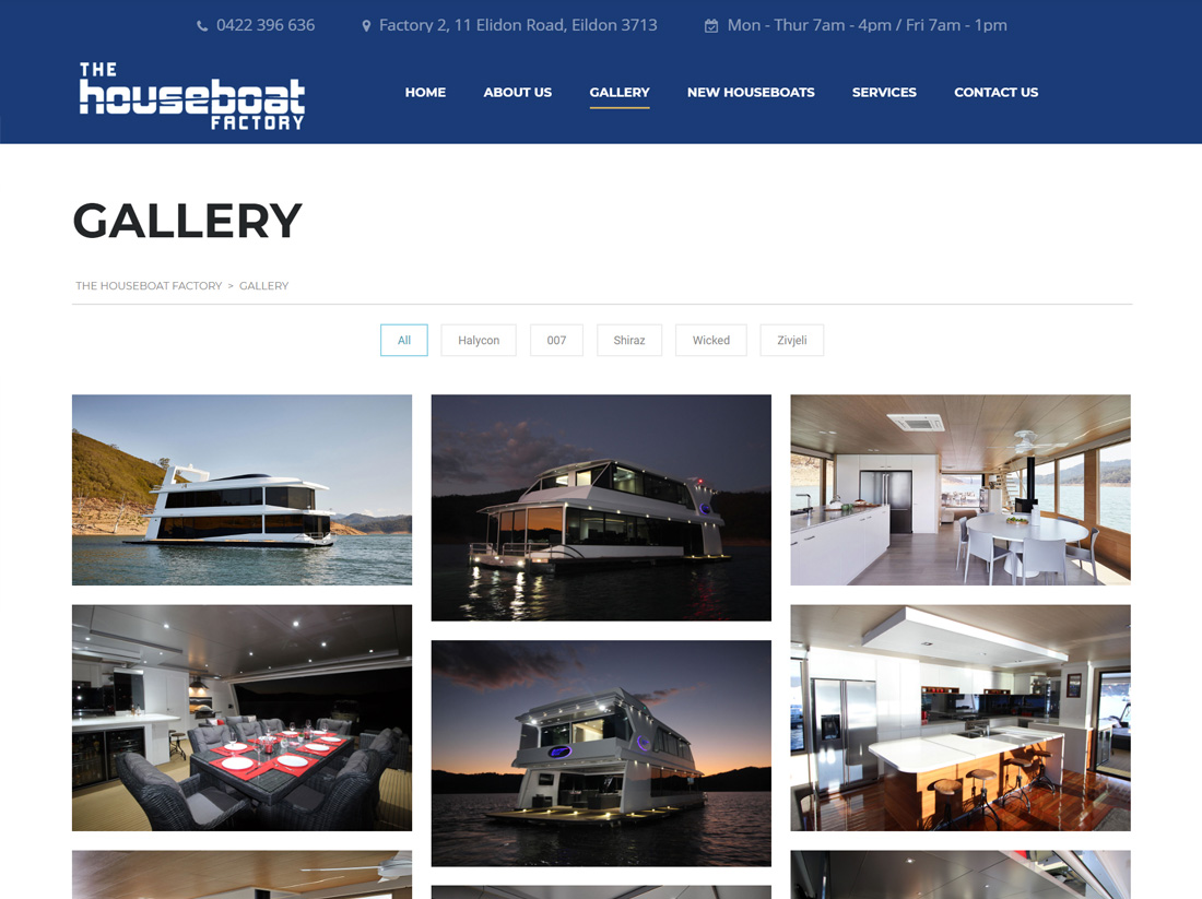 The Houseboat Factory Website Project Gallery