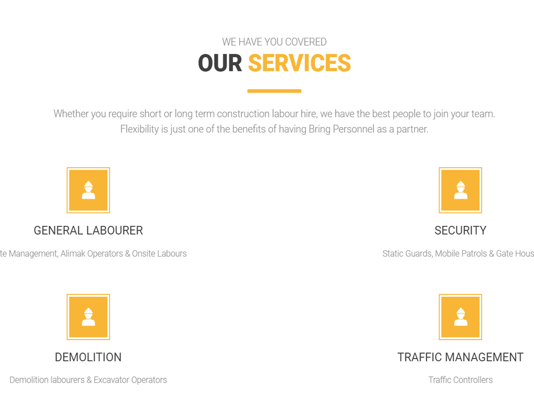 Bring Personnel Website Project Services