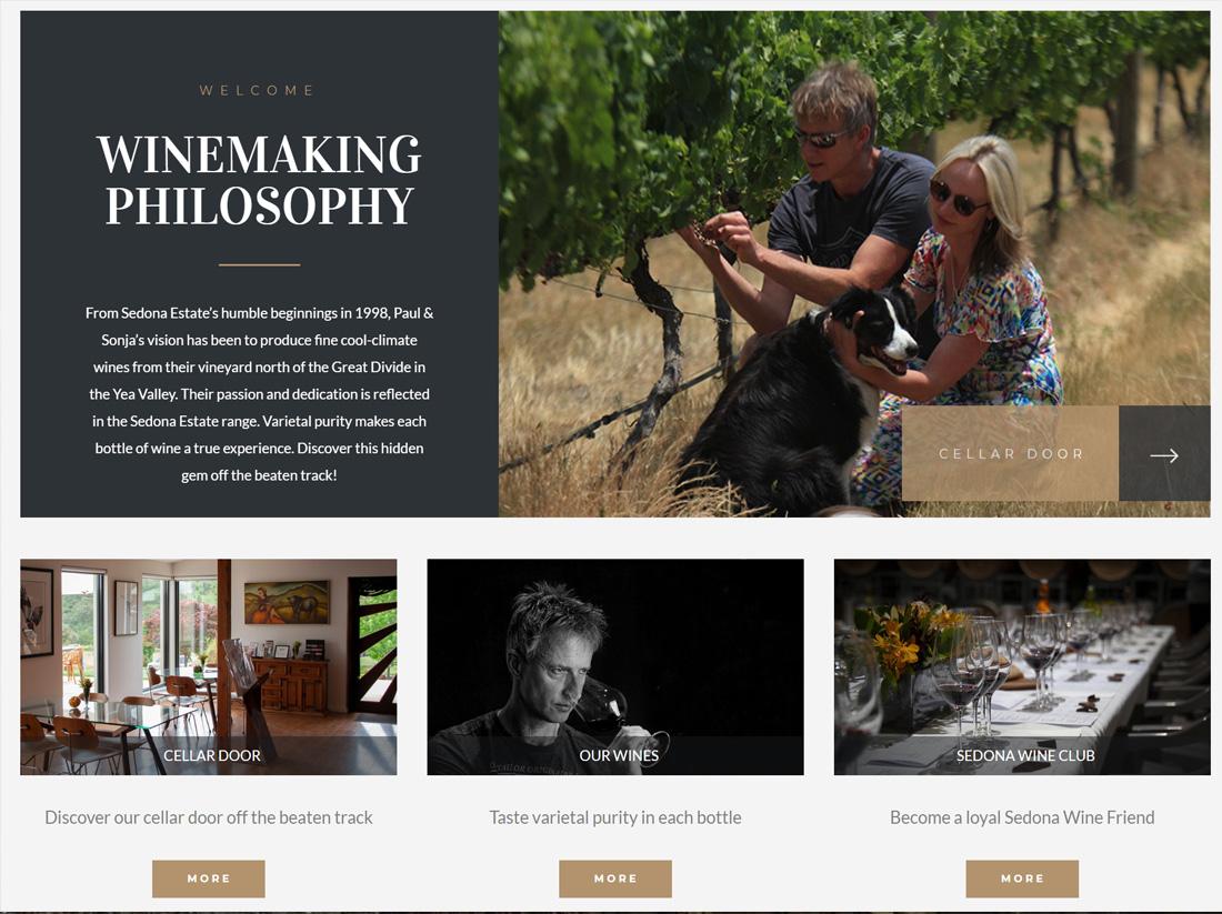 Sedona Estate Winery Website Project Modern Look
