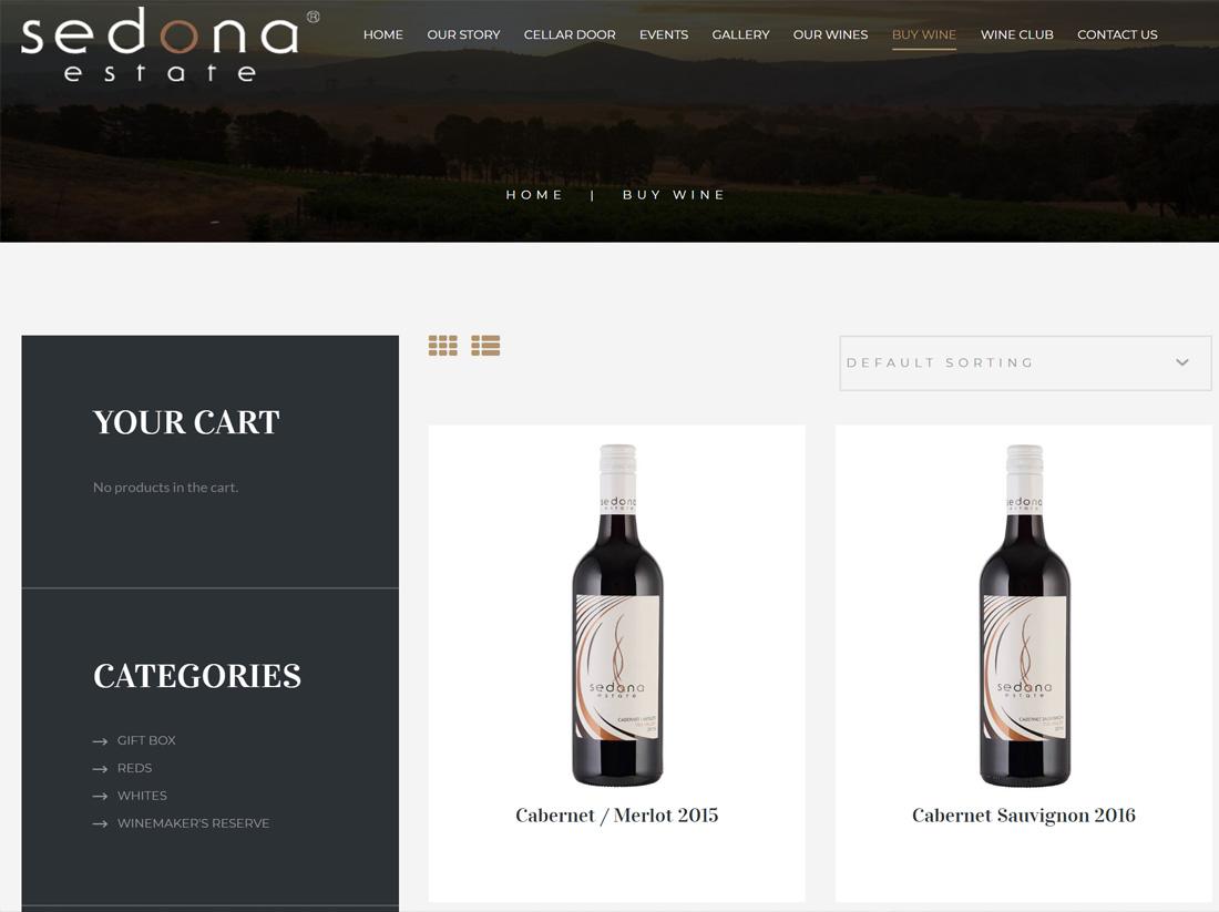 Sedona Estate Winery Website Project eCommerce