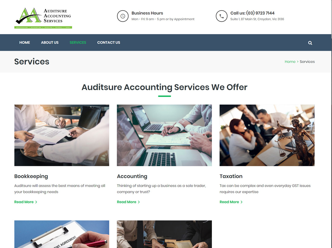 Auditsure Accounting Services Website Project Services Page
