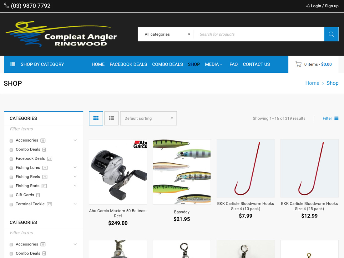 Compleat Angler Ringwood Website Project Shop Page