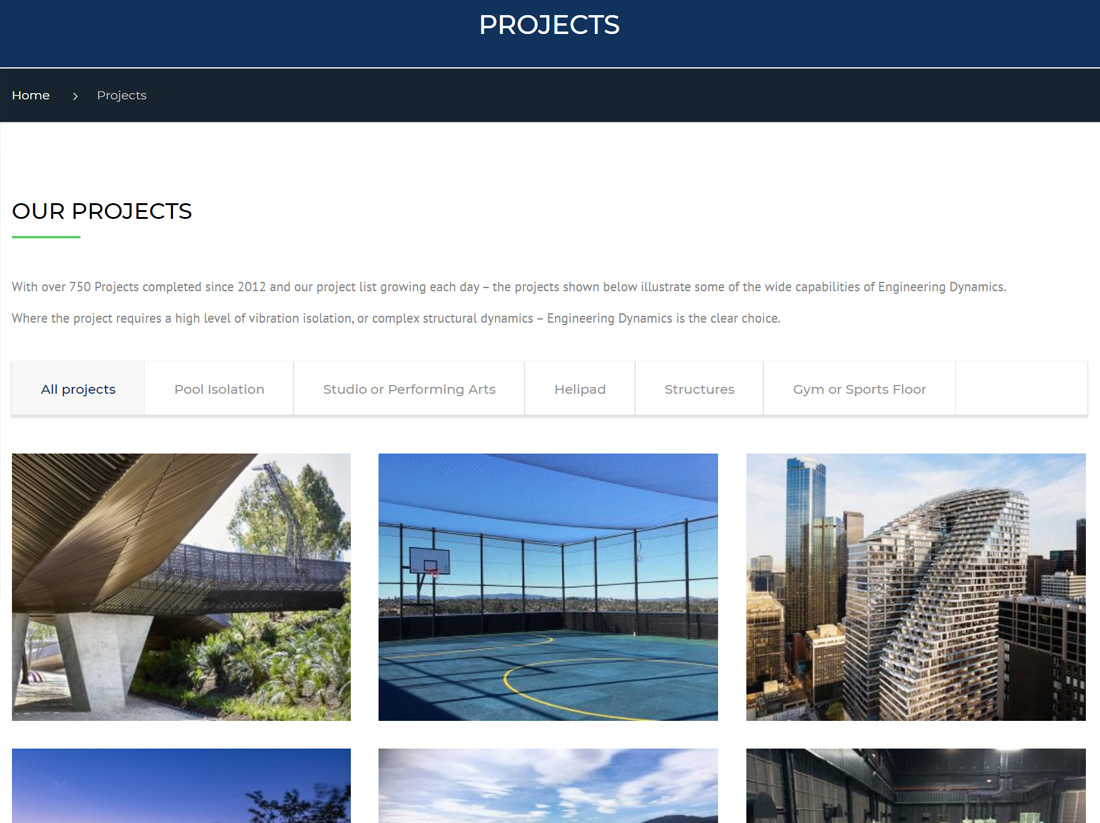 Engineering Dynamics Website Projects Page