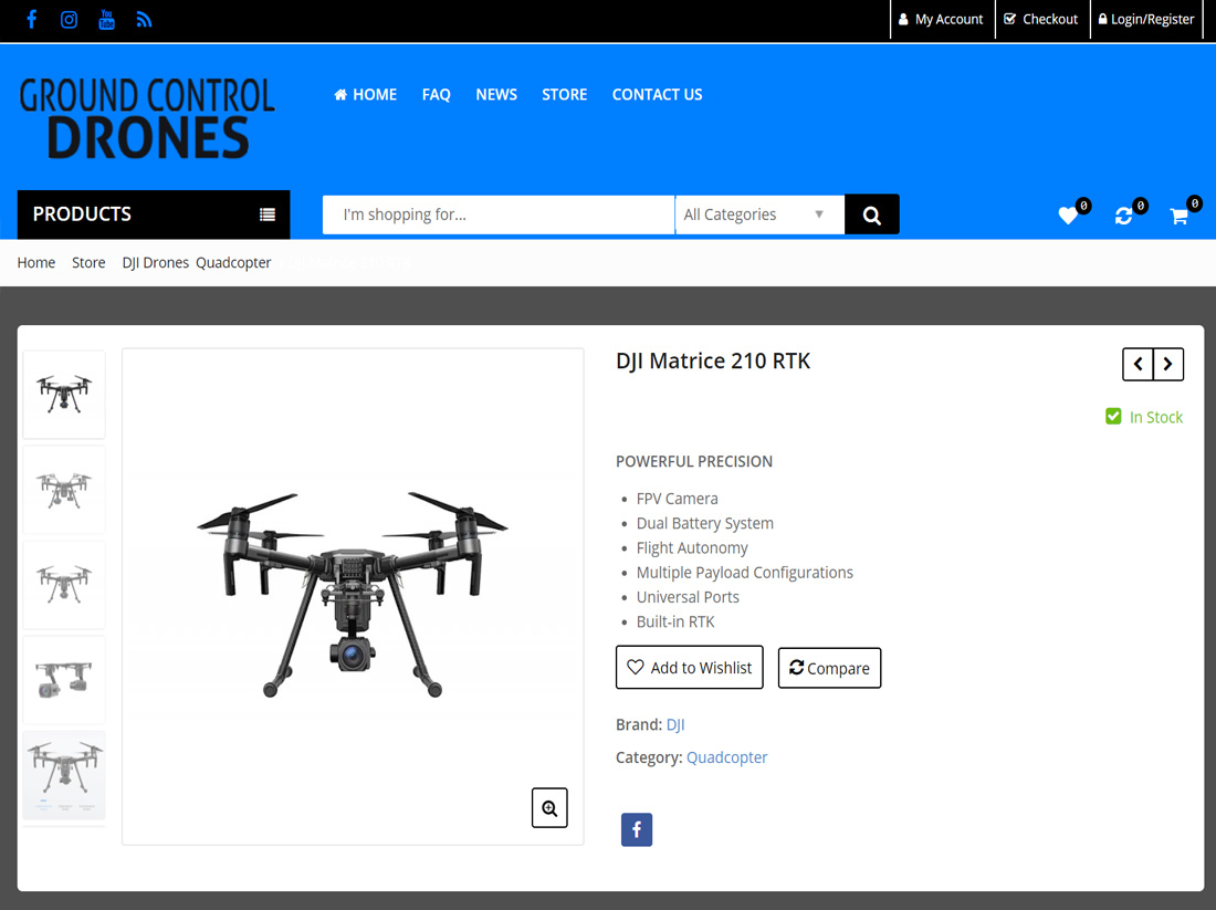 Ground Control Drones Website Project Product Page