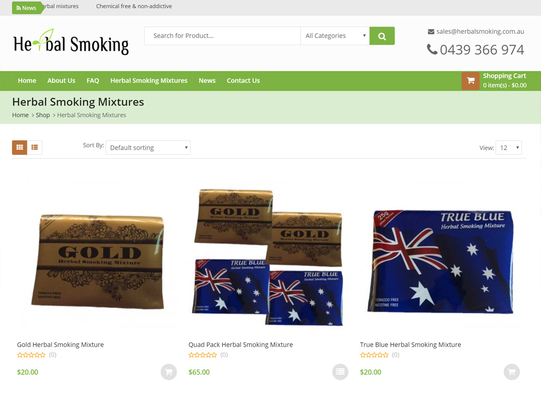 Herbal Smoking Website Project Mixtures Page