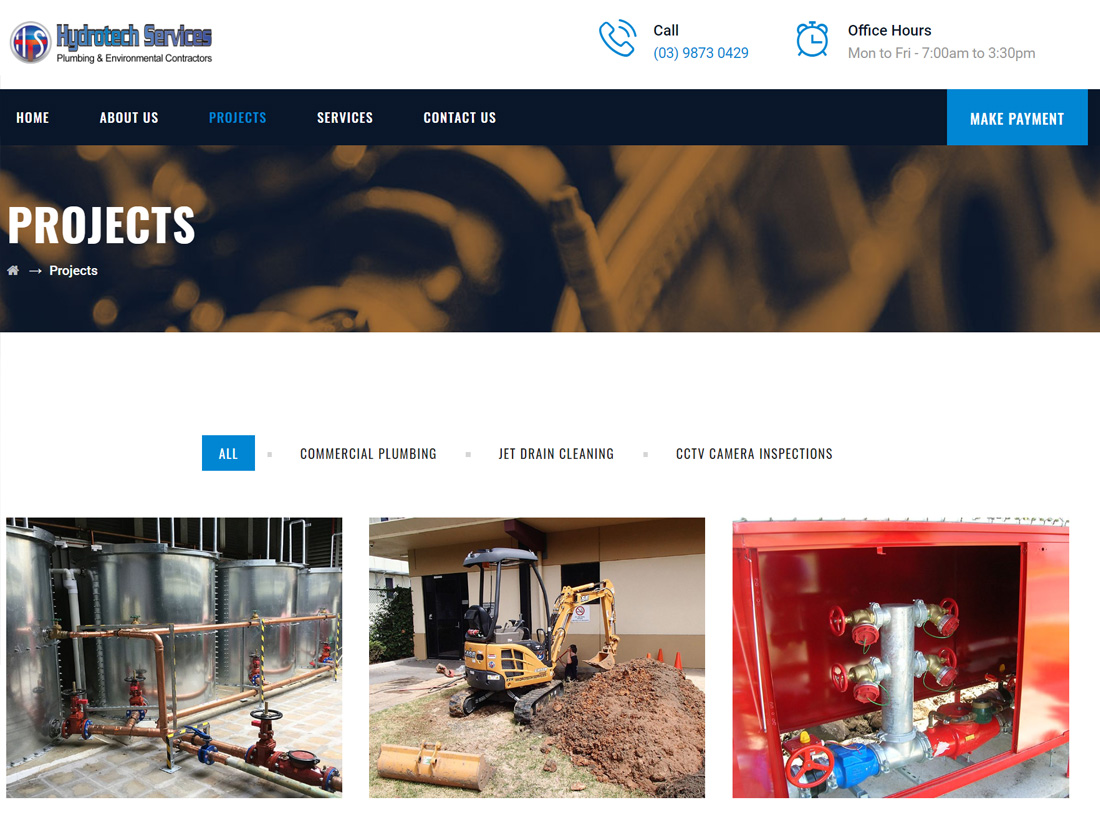Hydrotech Services Website Project Projects Page
