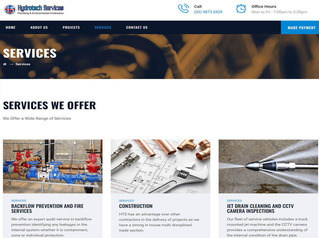 Hydrotech Services Website Project Services Page