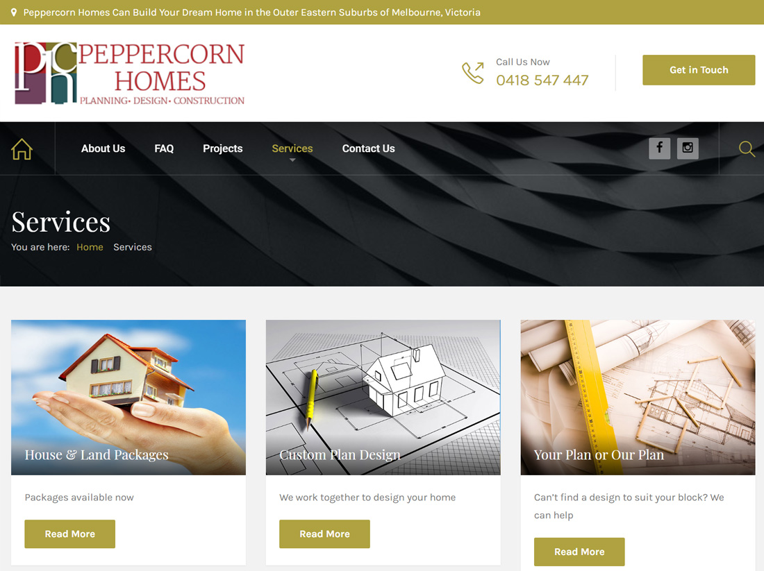 Peppercorn Homes Website Project Services Page