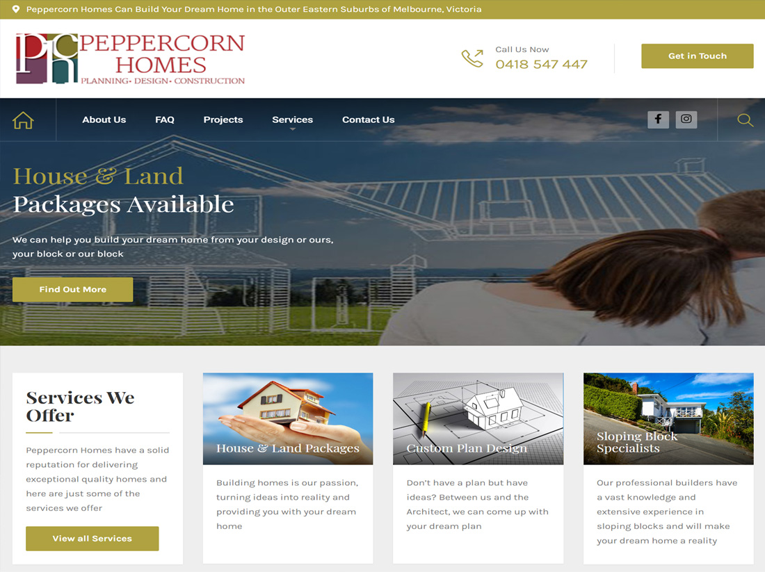 Peppercorn Homes Website Project