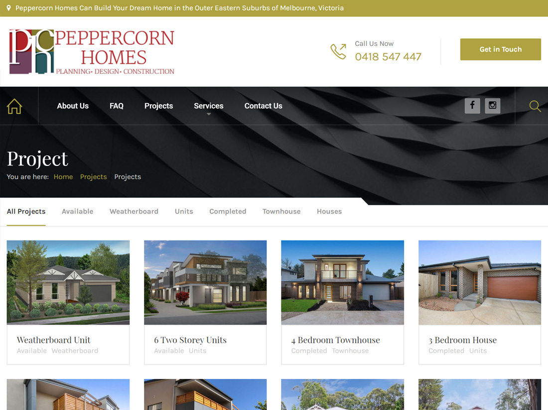 Peppercorn Homes Website Projects Page