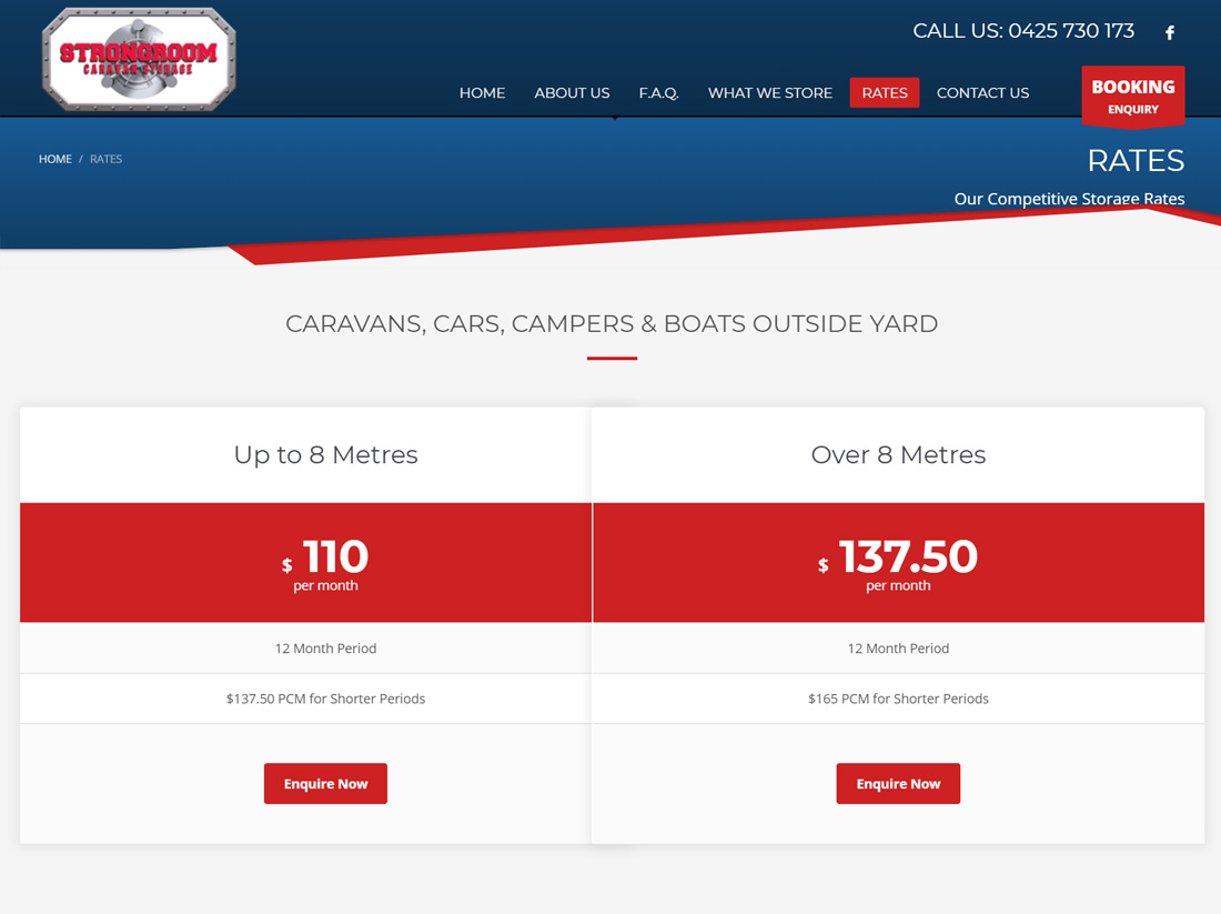 Strongroom Caravan Storage Website Project Rates Page