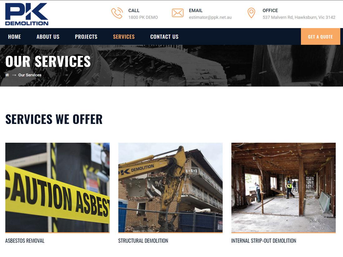 PK Demolition Services Page