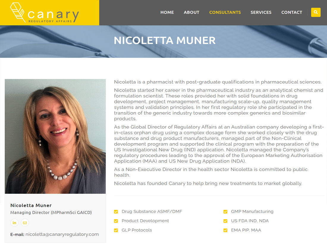 Canary Regulatory Affairs Website Project Consultants Page