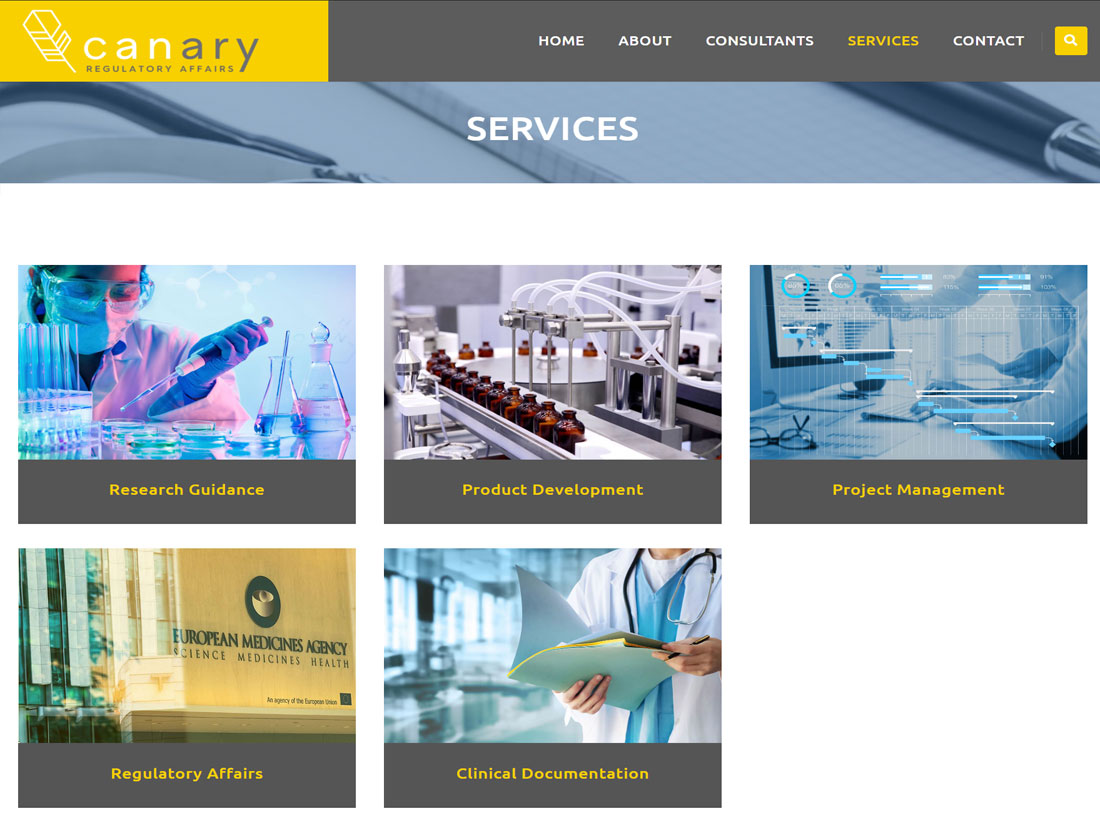 Canary Regulatory Affairs Website Project Services Page
