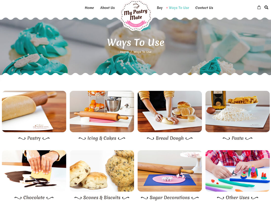 My Pastry Mate Website Project Ways to Use Page