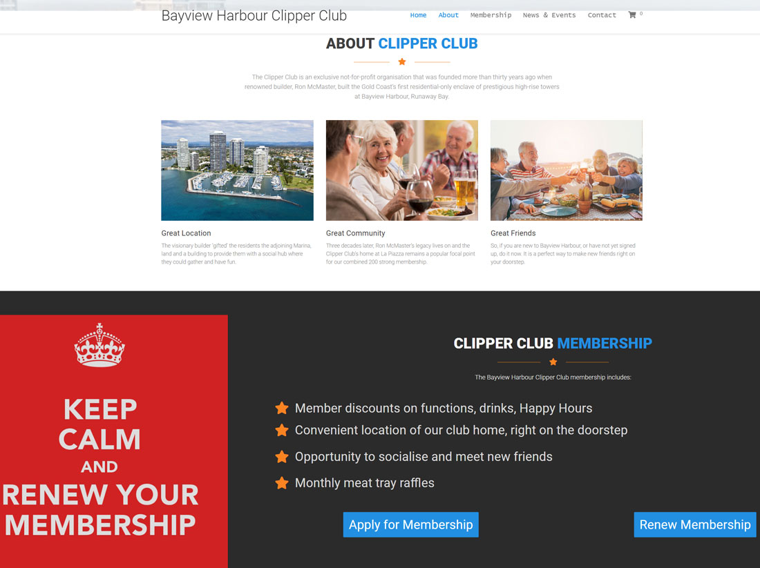 Bayview Harbour Clipper Club Website Project About & Membership